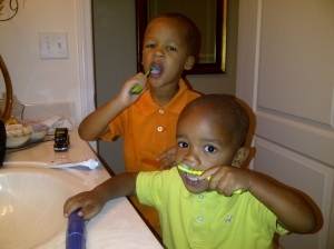 Boys Brushing Teeth